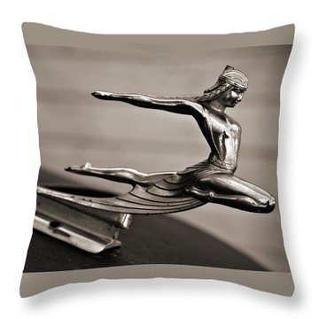 Art Deco Hood Ornament Throw Pillow