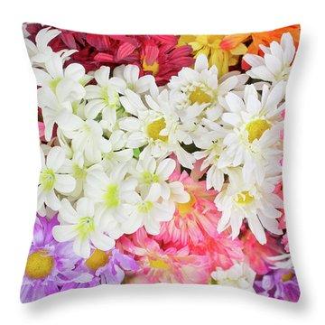 Artificial Flowers Throw Pillow
