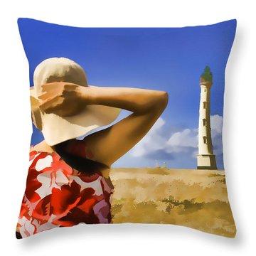 Aruba Lighthouse Throw Pillow by Dennis Cox WorldViews