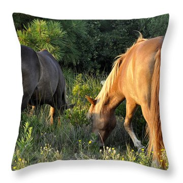 Asateague Horses 6 Throw Pillow