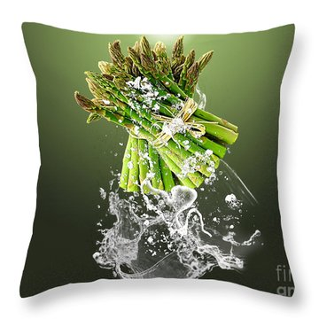 Asparagus Splash Throw Pillow