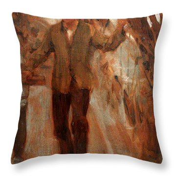 Throw Pillow featuring the painting At The Break Of The Poop  by Henry Scott Tuke