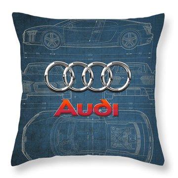 Audi 3 D Badge Over 2016 Audi R 8 Blueprint Throw Pillow