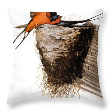 Audubon: Swallow Throw Pillow by Granger