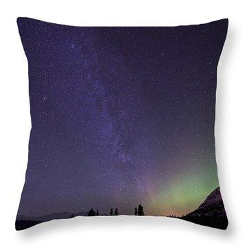 Aurora Borealis And Milky Way Throw Pillow by Jonathan Tucker