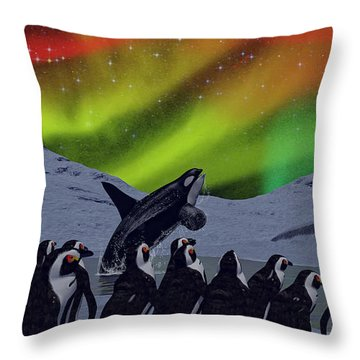 Throw Pillow featuring the digital art Aurora Borealis by Methune Hively