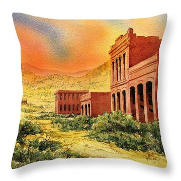 Aurora Ghost Town Nevada Throw Pillow by Kevin Heaney