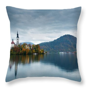 Autumn Colours At Lake Bled Throw Pillow