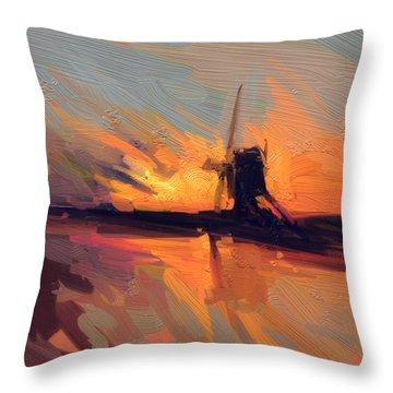 Autumn Indian Summer Windmill Holland Throw Pillow by Nop Briex