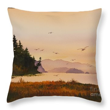 Throw Pillow featuring the painting Autumn Shore by James Williamson