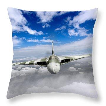 Throw Pillow featuring the digital art Avro Vulcan Head On Above Clouds by Gary Eason