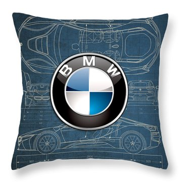 B M W 3 D Badge Over B M W I8 Blueprint  Throw Pillow