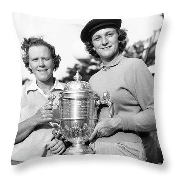 Patty Berg And Babe Didrikson Throw Pillow by Underwood Archives