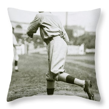 Babe Ruth Pitching Throw Pillow