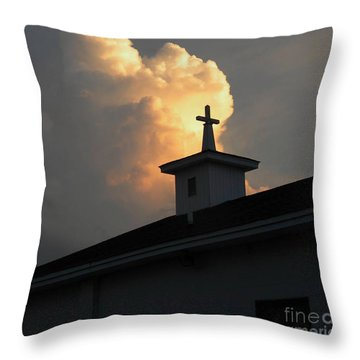 Reaching Baby Angel At The Cross Throw Pillow