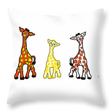 Baby Giraffes In A Row Throw Pillow