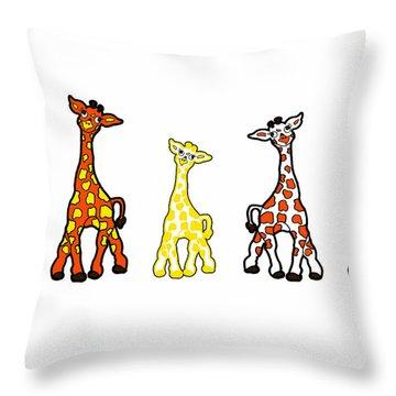 Baby Giraffes In A Row Throw Pillow by Rachel Lowry