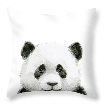 Baby Panda Watercolor Throw Pillow