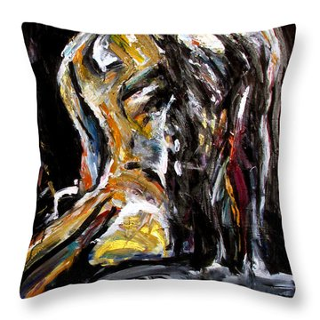 Throw Pillow featuring the painting Back by John Jr Gholson