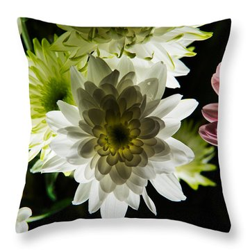 Backlit White Dahlia Throw Pillow