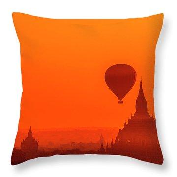Bagan Pagodas And Hot Air Balloon Throw Pillow