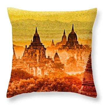 Bagan Pagodas Throw Pillow by Dennis Cox WorldViews