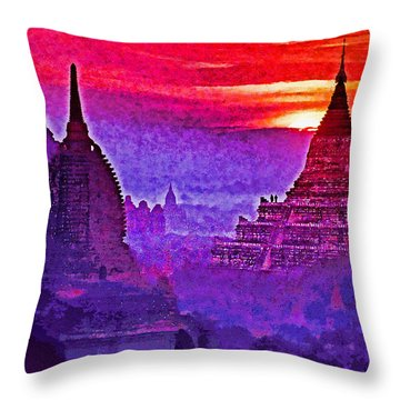 Bagan Sunrise Throw Pillow by Dennis Cox WorldViews