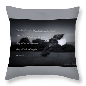 Bald Eagle In Flight With Bible Verse Throw Pillow by John A Rodriguez
