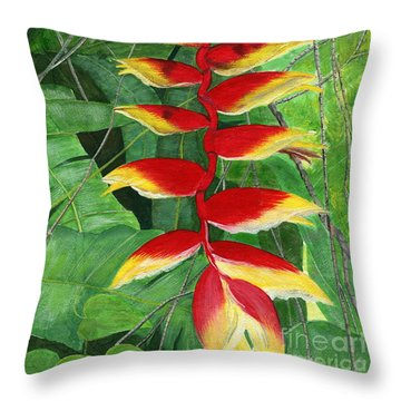 Throw Pillow featuring the painting Balinese Heliconia Rostrata by Melly Terpening