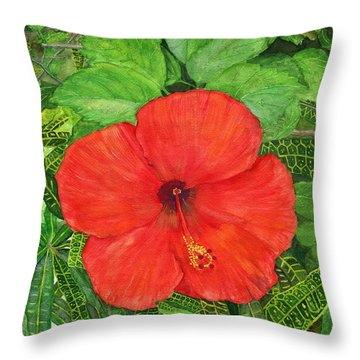 Throw Pillow featuring the painting Balinese Hibiscus Rosa by Melly Terpening