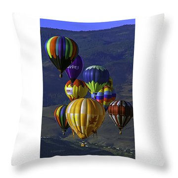 Balloons Over Reno Throw Pillow by Dorothy Cunningham
