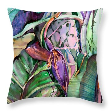 Banana Pod Throw Pillow by Mindy Newman