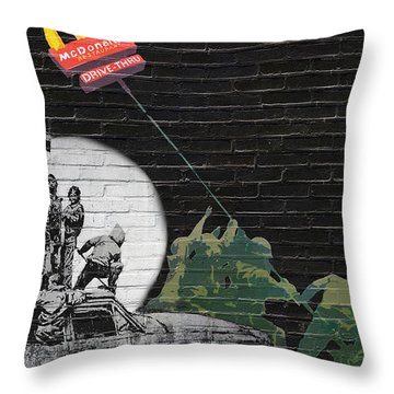 Banksy - The Tribute - New World Order Throw Pillow