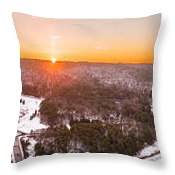 Throw Pillow featuring the photograph Barkhamsted Reservoir And Saville Dam In Connecticut, Sunrise Panorama by Petr Hejl