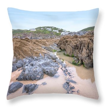 Barricane Beach - England Throw Pillow