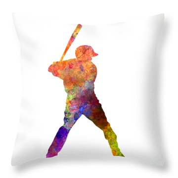 Baseball Player Waiting For A Ball Throw Pillow by Pablo Romero