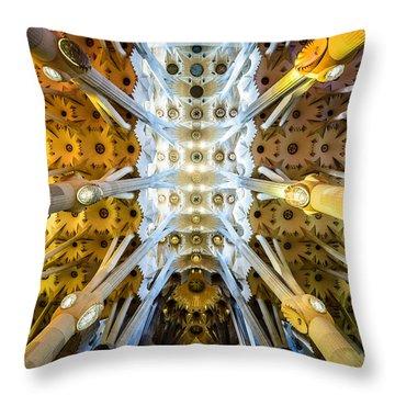 Basilica De La Sagrada Familia Throw Pillow by Randy Scherkenbach