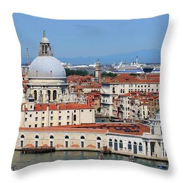 Basilica Della Salute And Punta Della Dogana In Venice Italy Throw Pillow