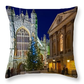 Bath Abbey At Night At Christmas Throw Pillow