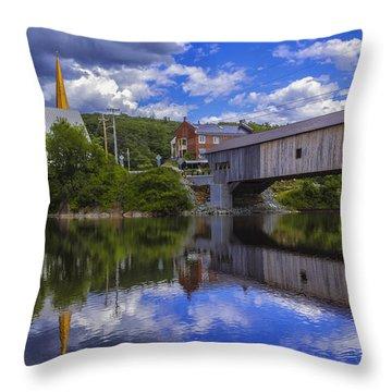 Bath Covered Bridge. Throw Pillow