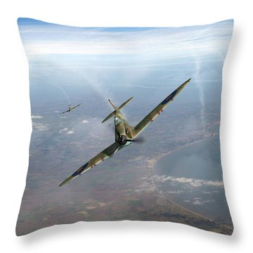 Throw Pillow featuring the photograph Battle Of Britain Spitfires Over Kent by Gary Eason