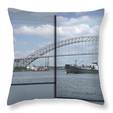 Bayonne Bridge And Boat Throw Pillow by Richard Xuereb