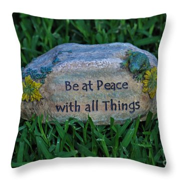 Throw Pillow featuring the photograph 1- Be At Peace by Joseph Keane