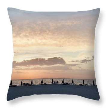 Beach At Sunset Throw Pillow