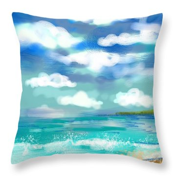 Beach Birds Throw Pillow by Elaine Lanoue
