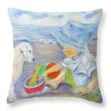Beach Boy Throw Pillow by Loretta Luglio
