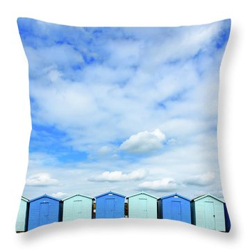 Beach Huts Throw Pillow