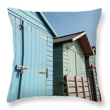 Beach Huts Vi Throw Pillow
