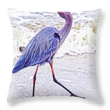 Beach Walker Throw Pillow
