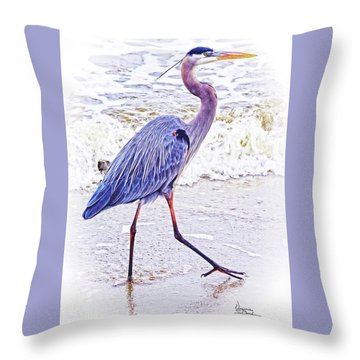 Beach Walker Throw Pillow
